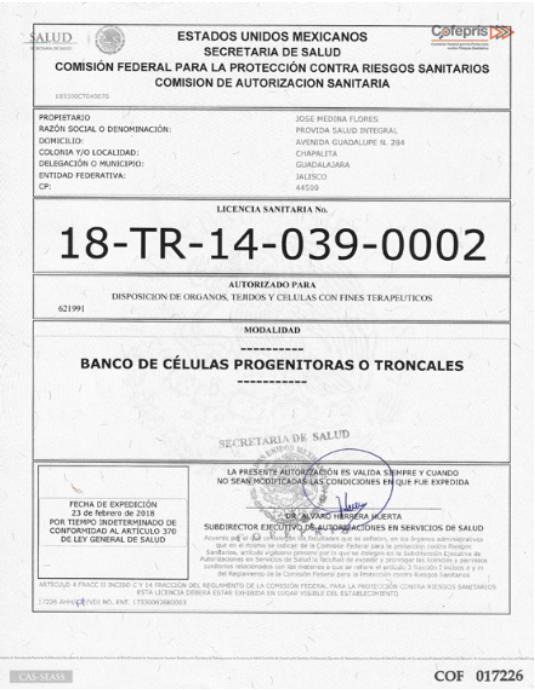 Cryovida COFEPRIS Certificate stem cell bank dreambody clinic