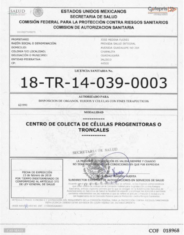 Cryovida COFEPRIS Certificate stem cell producer license dreambody clinic